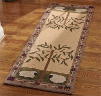 Sheep & Saltbox House Country Hooked Rug Floor Runner