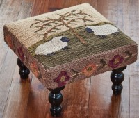 Willow And Sheep Hooked Country Stool