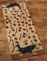 Rustic Folk Chicken Run Hooked Rug Floor Runner