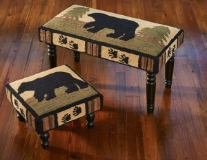 Lodge Bear Hooked Rustic Stool or Bench