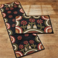 House on Hill with Flowers Hooked Rug Floor Runner