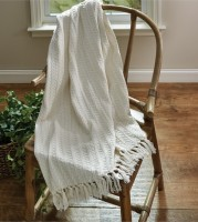 Farmhouse Cream Cable Knit Sweater Throw - Cottage Home Decor