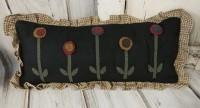 Wool Applique Flower Long Home Decor Pillow