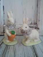 Vintage Style White Rabbit Figures - Set of 2