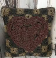 Primitive Love Note Heart Hooked Wool Home Decor Accent Pillow