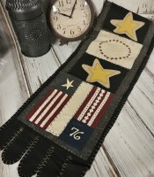 Primitive Patriotic Flag Handstitched Table Runner