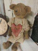 Primitive Handmade Aged Teddy Bear with Heart - Handmade in USA