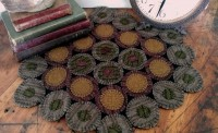Primitive Wool Rustic Dakota Brown Wool Blend Penny Table / Candle Mat