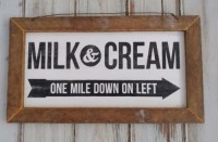 Rustic Farmhouse Milk and Cream Kitchen Framed Sign