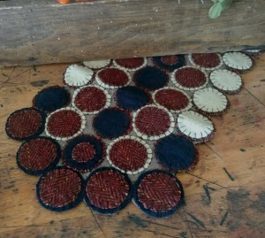 Primitive Wool Rustic Patriot Wool Blend Penny Table Runner