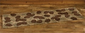 Rustic Brown Pinecone Hooked Rug Floor Runner