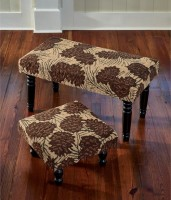 Rustic Pine Cone Hooked Stool or Bench