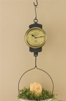 Farmhouse Cottage Style Vintage Inspired Hanging Milk Scale Clock Candle Holder