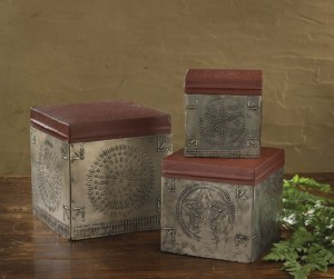 Rustic Farmhouse Country Punched Tin Nesting Boxes