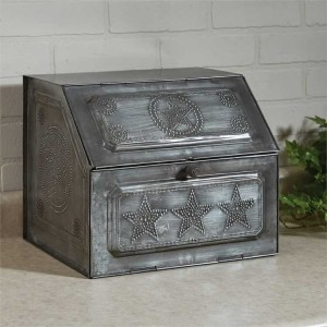 Rustic Punched Metal Star Bread Box