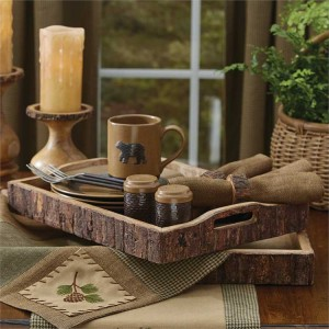 Rustic Wood with Bark Edged Trays - set of 2