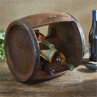 Rustic Wood Cask Wine Rack