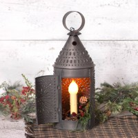 "15"" Revere Punched Tin Vintage Farmhouse Lantern"