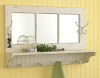 Country Cottage Distressed Cream Shelf with Hooks and Mirror