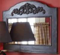 Rustic Mantle Top Aged Black Mirror