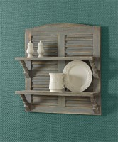 Farmhouse ~ Cottage Style Double Shutter Shelf - Aged Gray