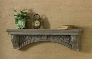 Rustic Farmhouse Vintage Inspired Wooden Mantle Shelf - Aged Gray