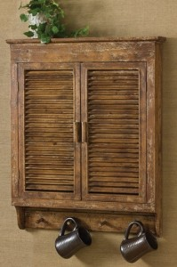Farmhouse Rustic Vintage Inspired Distressed Wood Shutter Cabinet #24-911