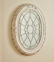 Farmhouse Cottage Metal Window Frame Mirror in Aged Cream