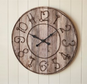 Rustic Pieced Wood Look Large Wall Clock with Key Numbers