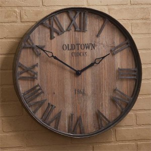 Rustic Farmhouse Old Town Galvanized Wood Wall Clock
