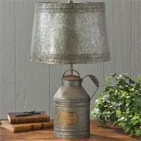 Farmhouse Style Antique Milk Can Lamp with Tin Shade