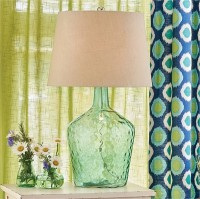 Hammered Glass Lamp with Natural Linen Shade - Modern Farmhouse Table Lamp