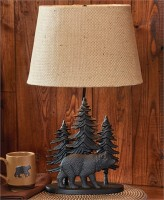 Black Bear Lodge Table Lamp - Rustic Home Lighting