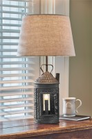 Rustic Punched Tin Lantern Electric Table Lamp with Shade