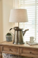 Large Coffee Pot Table Lamp with Shade - Rustic Farmhouse Home Lighting