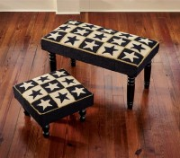 Country Star Hooked Stool or Bench