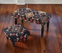 Folk Art Pattern Hooked Stool or Bench
