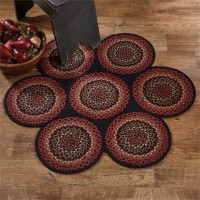 Folk Art Primitive Circles Cotton Braided Rug
