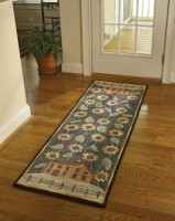 Folk Art Saltbox House and Sunflower Hooked Rug Runner