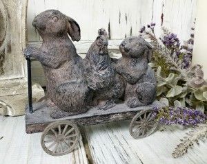 Spring Bunnies and Chicken on Cart