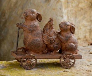 Country Farmhouse Bunnies & Rooster on Cart