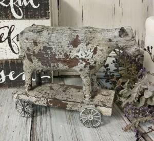 Rustic Cow on Cart Farmhouse Home Decor Figure