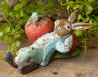 Vintage Inspired Strawberry Bunny Figurine