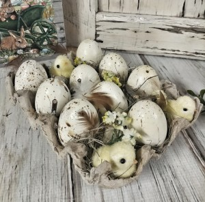Easter Egg and Chick Carton - Spring Seasonal Home Decoration