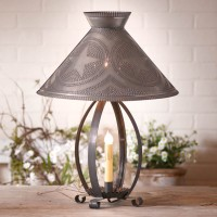 Rustic Betsy Ross Table Lamp with Punched Tin Star Shade