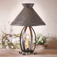 Rustic Betsy Ross Table Lamp with Punched Tin Chisel Shade