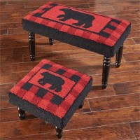 Red Buffalo Check Lodge Style Bear Stool / Bench