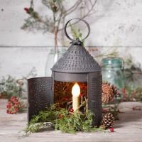 "15"" Fireside Pumched Tin Electric Lantern"