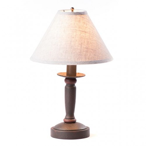 Handmade Wooden Butcher's Lamp with Ivory LinenShade