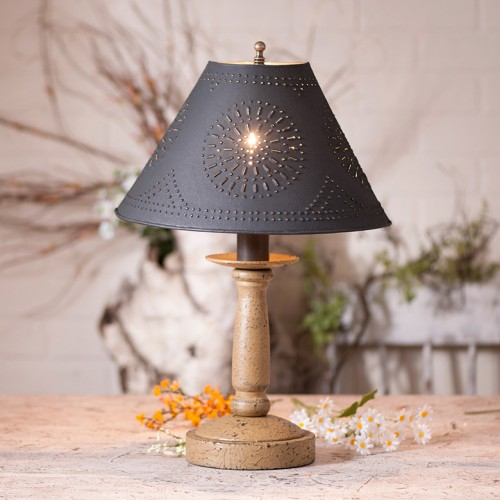 Handmade Wooden Butcher's Lamp with Punched Metal Shade